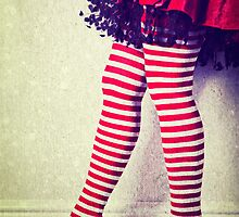 Red stripy socks by Sharonroseart
