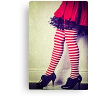 Red stripy socks Canvas Print
