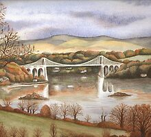 'Autumn On The Menai Bridge' by Dawn Jones Art