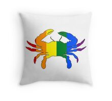 Maryland Flag Crab - Rainbow Throw Pillow