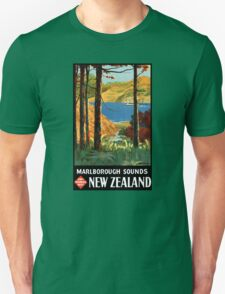New Zealand Marlborough Sounds Vintage Poster Unisex T-Shirt