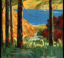 New Zealand Marlborough Sounds Vintage Poster by Carsten Reisinger