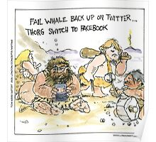 Prehistoric Social Networking by Londons Times Cartoons Poster