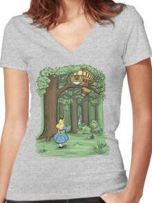 My Neighbor in Wonderland Women's Fitted V-Neck T-Shirt