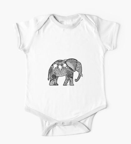 Patterned Elephant One Piece - Short Sleeve