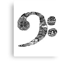 Patterned Bass Clef Canvas Print