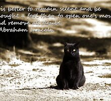 Black Cat Card with Remain Silent Quote by Corri Gryting Gutzman
