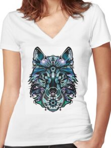 Snow Wolf Women's Fitted V-Neck T-Shirt