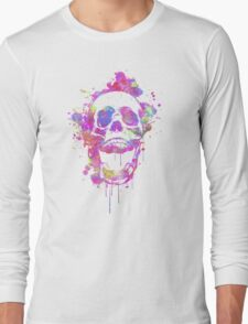 Cool & Trendy Pink Watercolor Skull Long Sleeve T-Shirt