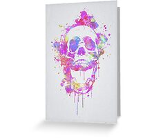 Cool & Trendy Pink Watercolor Skull Greeting Card