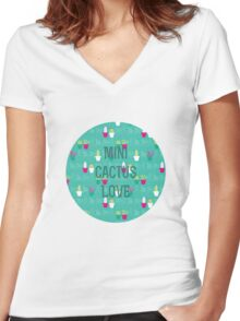 Mini Cactus Love Women's Fitted V-Neck T-Shirt