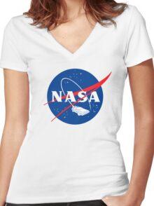 NASA Back 2 Future Women's Fitted V-Neck T-Shirt