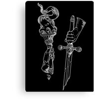 Knowledge + Glory: torch & sword woodblock in WHITE Canvas Print
