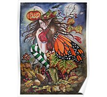 Halloween samhain pumpkin orange butterfly stripy stockings Poster