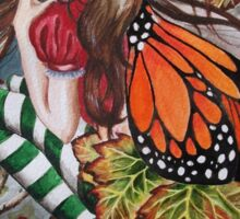 Halloween samhain pumpkin orange butterfly stripy stockings Sticker