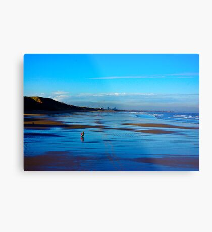 Strolling on the Beach - Saltburn Metal Print