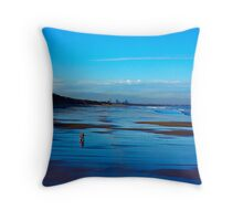 Strolling on the Beach - Saltburn Throw Pillow