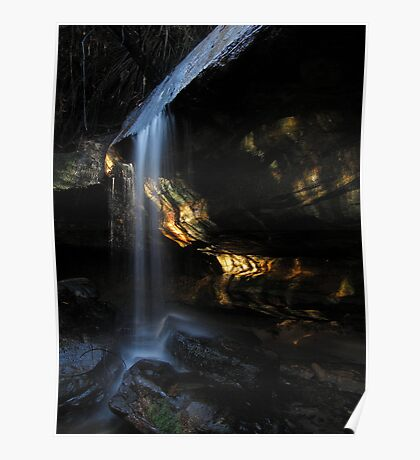 Waterfall with light Poster