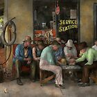 Gas Station - Playing checkers togther 1939 by Mike  Savad