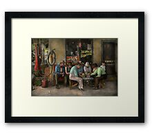 Gas Station - Playing checkers togther 1939 Framed Print