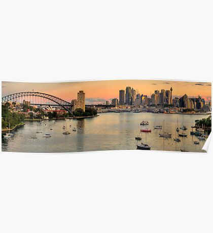 Berry's Bay Sunset - Berrys Bay, Sydney Harbour (40 Exposure HDR Panorama) - The HDR Experience Poster