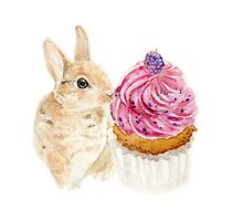 Rabbit with cup cake by chanwailuen