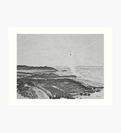 drawing - mist in the bay  Art Print