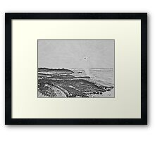 drawing - mist in the bay  Framed Print