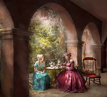 Tea Party - Sharing tea with Grandma 1936 by Mike  Savad