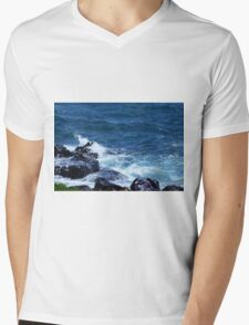 Waves on the Rocks Mens V-Neck T-Shirt