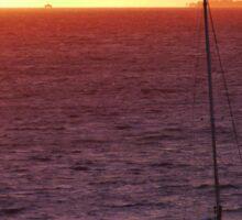 A sailboat at Sunset Sticker