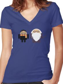 Harry Pottroid and Dumbledroid Women's Fitted V-Neck T-Shirt
