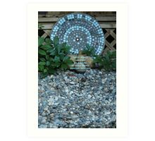Mosaic Art in a Garden - (with quote) Art Print