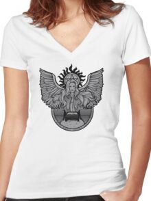 Hunters: Black and White version Women's Fitted V-Neck T-Shirt