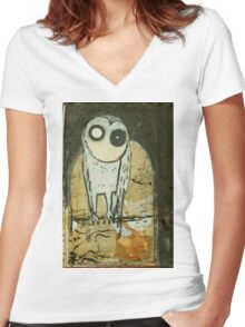 O for Owl Women's Fitted V-Neck T-Shirt