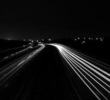 Midnight Motorway Mayhem Black & White by Jason Parnell