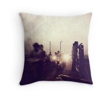 There are dark shadows on the earth, but its lights are stronger in the contrast. Throw Pillow