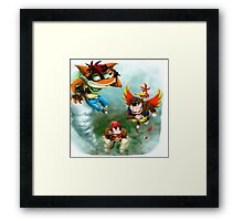 Crash Bandicoot, Banjo Kazooie, & Diddy Kong Framed Print