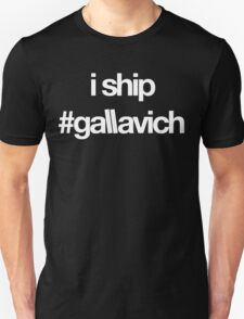 i ship #gallavich (White with black bg) T-Shirt