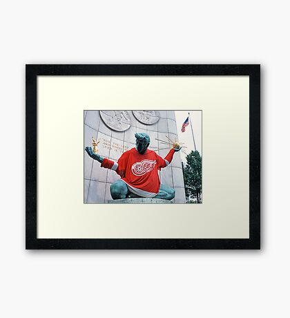 The Spirit of Detroit - Go Wings! Framed Print