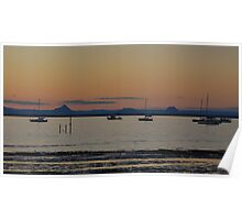 Glass House Mountains from Scarbourgh Harbour Queenlsand Poster