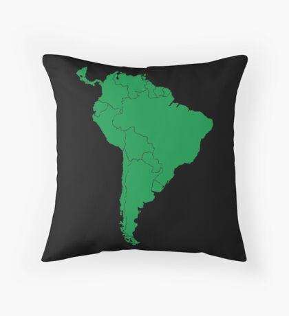 Blank green South America map Throw Pillow