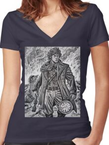 """Young War Doctor/ """"Doctor No More"""" Women's Fitted V-Neck T-Shirt"""