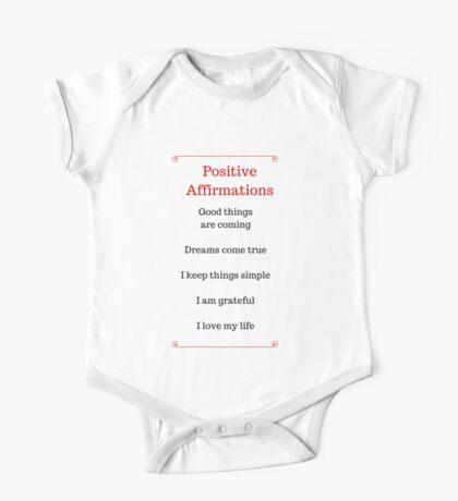 Positive Affirmations List One Piece - Short Sleeve