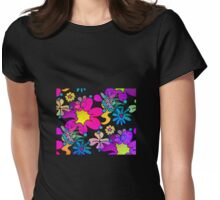 Retro Trippy Flowers-Bright Womens Fitted T-Shirt