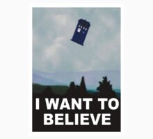 """I Want To Believe"" Police Public Call Box version.  Kids Clothes"