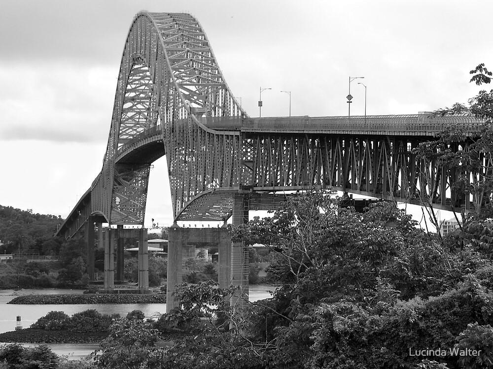 Bridge of the Americas - Black & White by Lucinda Walter