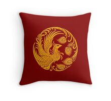 Traditional Yellow Chinese Phoenix Circle Throw Pillow