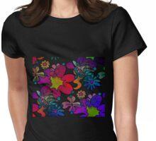 Retro Trippy Flowers-Dark Womens Fitted T-Shirt