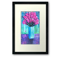 Pink in Vase Framed Print